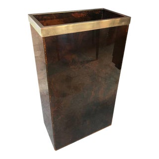 Italian Vintage Acrylic and Brass Trash Can or Waste Basket