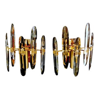 1970s Designer Gaetano Sciolari Sconces- a Pair For Sale