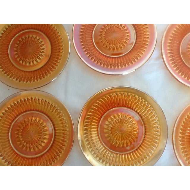 Mid-Century Modern Marigold Iridized Carnival Glass Plates - Set of 6 For Sale - Image 3 of 6