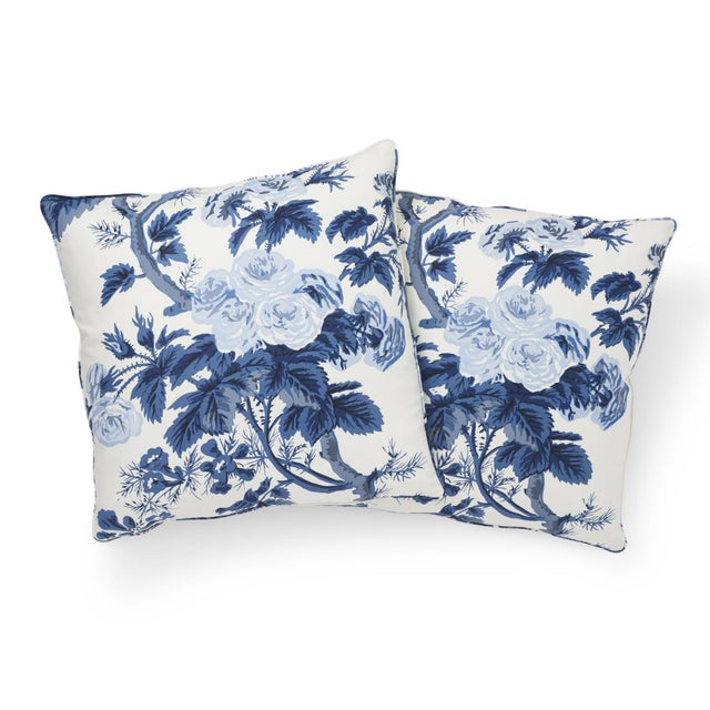 Asian Schumacher Pyne Hollyhock Pillow in Indigo For Sale - Image 3 of 7