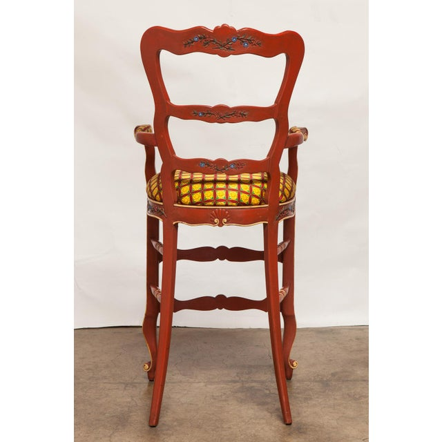 Carved French Country Red Bar Stools - A Pair - Image 4 of 10