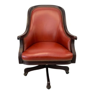Antique Director's Oxblood Leather Office Swivel Chair For Sale
