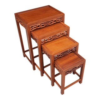 Vintage 1960's Asian Solid Teak Nesting Tables - Set of 4 For Sale