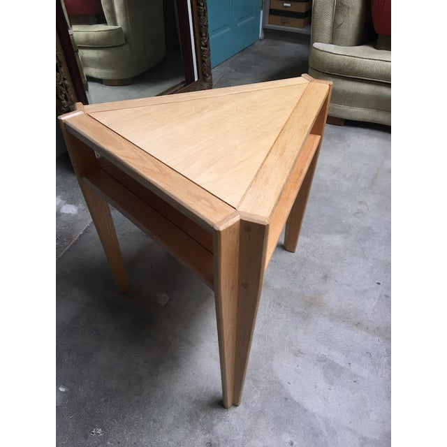 Abstract Studio Triangular Side Table in Solid Oak For Sale - Image 3 of 10
