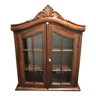 Vintage Wood Wall Mounted Curio Display Cabinet For Sale