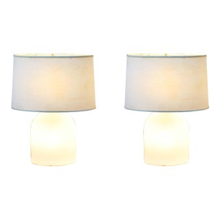 1970s Peill & Putzler Koch Lowy Mid-Century Modern White Glass Table Lamps - a Pair For Sale