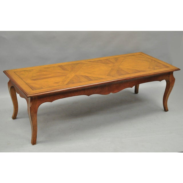 Vintage Country French Louis Xv Provincial Solid Wood Parquetry Inlay Coffee Table For Image