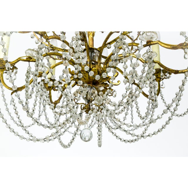 Metal French Crystal Beaded & Brass Curls Ten Light Chandelier For Sale - Image 7 of 11