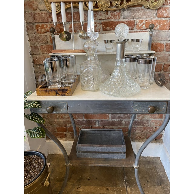 Gray Antique Zinc and Marble Dry Sink Basin For Sale - Image 8 of 11