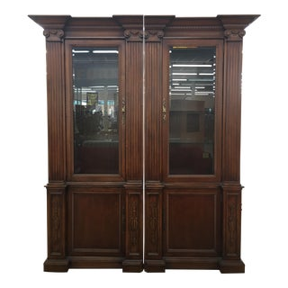 Grand Custom Book Shelves Curio Display Cabinets - a Pair