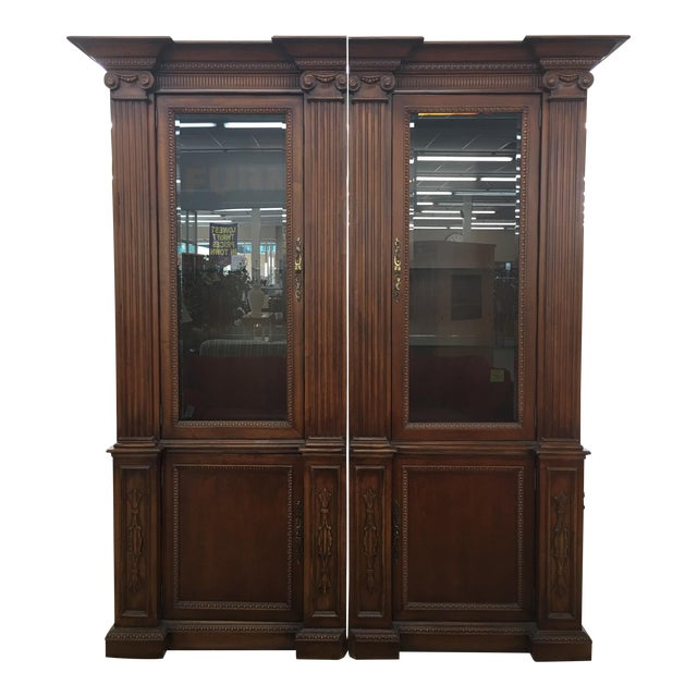 Grand Custom Book Shelves Curio Display Cabinets - a Pair For Sale