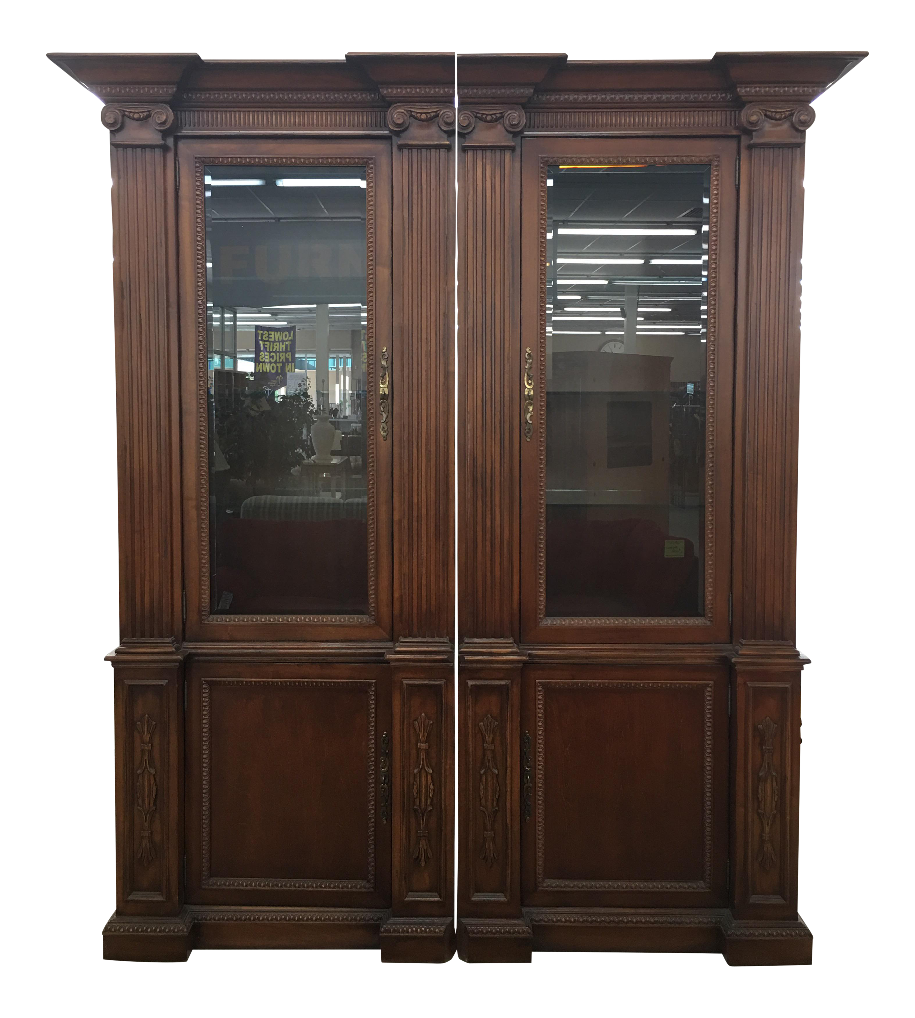 Grand Custom Book Shelves Curio Display Cabinets   A Pair For Sale