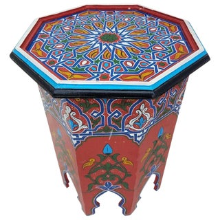 Moroccan Hexagonal Red Wooden End Table For Sale
