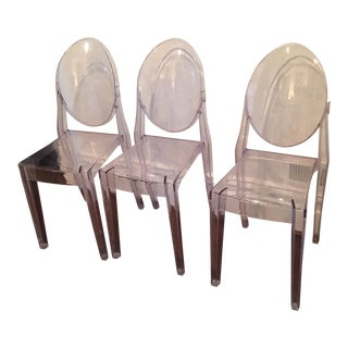 Acrylic Side Chairs - Set of 3