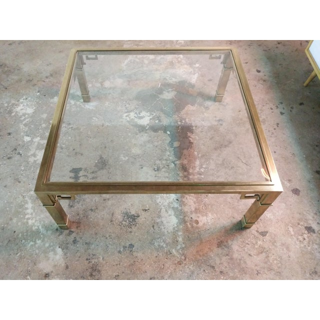 Hollywood Regency Vintage 1970's Brass Greek Key Coffee Table by Mastercraft For Sale - Image 3 of 7