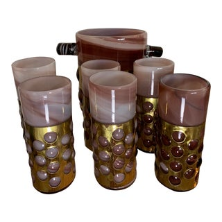 1960s Felipe Derhlinger Bar Set With Ice Bucket and Six High Ball Glasses - 7 Pieces For Sale