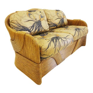 1970s Betty Cobonpue Split Reed Couch with Upholstered Cushions For Sale