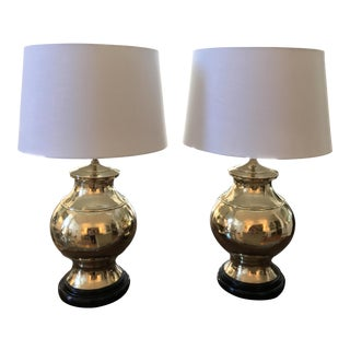 1970s Hollywood Regency Frederick Cooper Style Ginger Jar Style Brass Lamps - a Pair For Sale