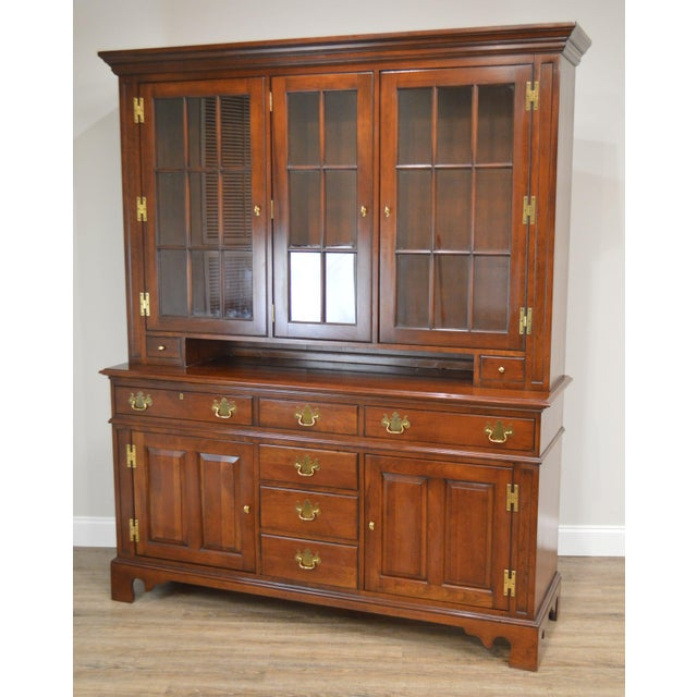 Traditional Councill Craftsman Cherry Pennsylvania Style Dutch Cupboard For Sale - Image 3 of 13