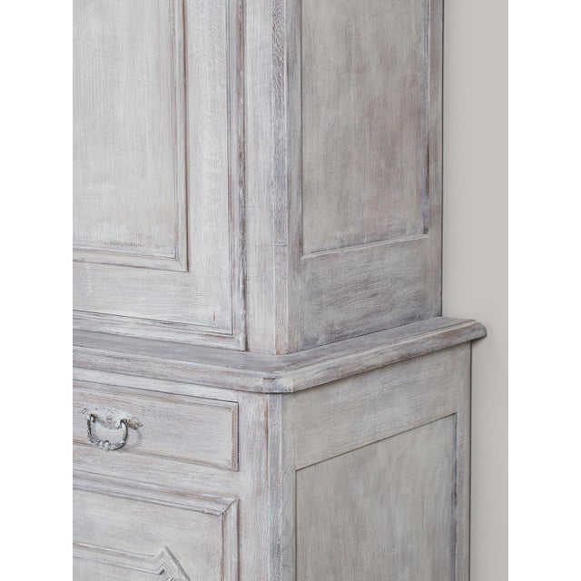 Oak Mid 19th Century Antique French Painted Oak Louis Philippe Buffet a Deux Corps Cabinet For Sale - Image 7 of 11