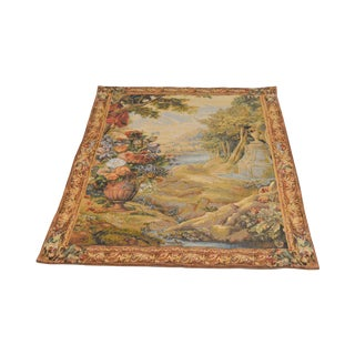 Tapestries Ltd. Hand Woven Floral Landscape Wall Hanging For Sale