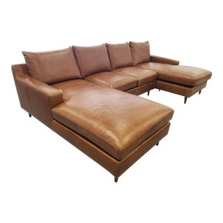 Brown Leather U-Shaped Sectional Sofa For Sale