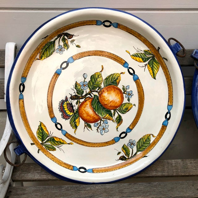 """Italian 20th Century Italian 21"""" Pair Ceramic Wall Plates/Chargers Decorative Oranges and Plums For Sale - Image 3 of 12"""