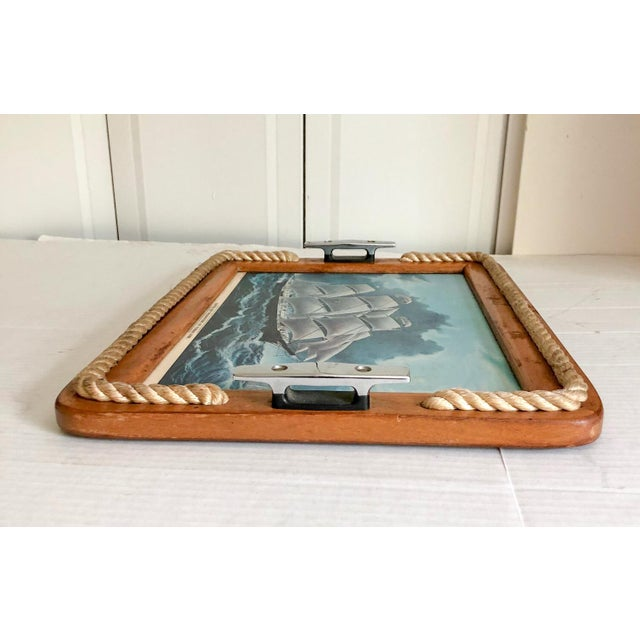 Nautical Serving Tray With Cleat Handles Barware For Sale - Image 4 of 7
