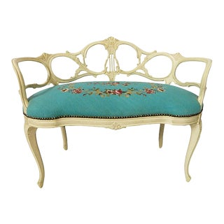 Vintage Italian Carved Needlepoint Settee For Sale