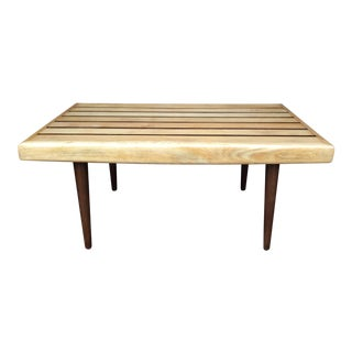 Mid-Century Modern Slat Bench Table