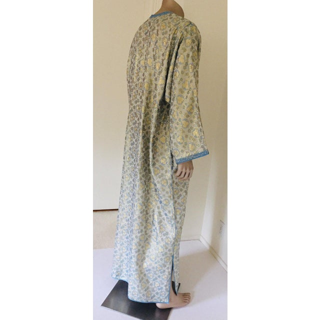 Blue Metallic Blue and Silver Brocade 1970s Maxi Dress Caftan, Evening Gown Kaftan For Sale - Image 8 of 13