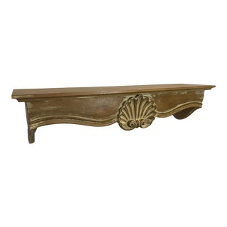 Vintage Coastal Carved Wood Shell Shelf For Sale