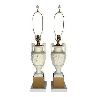 1950s Neoclassical Style Greek Figural Urn Table Lamps - a Pair For Sale
