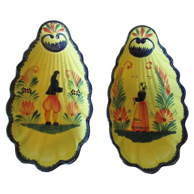Hand Painted French Quimper Shell Dishes - A Pair - Image 1 of 5