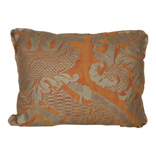 Bittersweet & Silvery Gold Fortuny Pillow For Sale