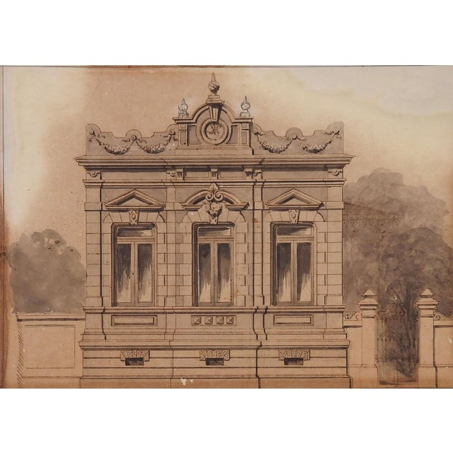 Art Nouveau Architectural Rendering, C. 1900 Watercolor Painting For Sale - Image 3 of 3