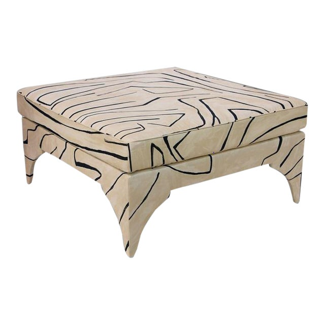 Contemporary Grafitto Print Upholstered Cocktail Table For Sale