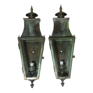 1970s Traditional Wall Hanging Brass Lanterns - a Pair For Sale