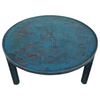 Moroccan Hand Carved Wooden Coffee Table, in Turquoise For Sale