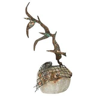 Curtis Jeré Bronze Seagulls on Quartz For Sale