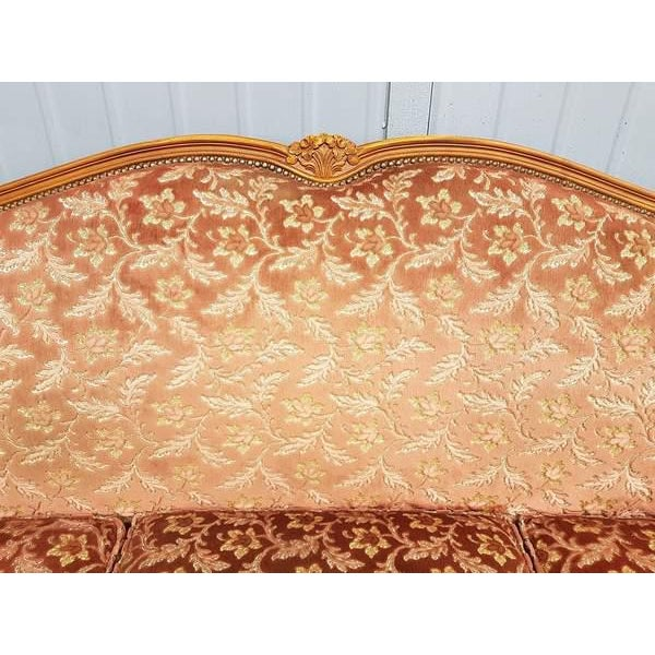 Pink Three Piece French Antique Louis XV Style Carved Parlor Suite Sofa Canape Loveseat For Sale - Image 4 of 13