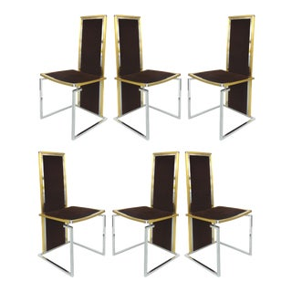 Romeo Rega Italian Brass/Stainless Steel Dining Chairs- Set of 6 For Sale