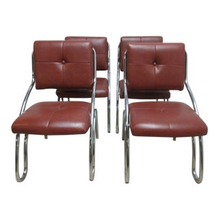 Mid-Century Chrome Floating Cantilever Dining Chairs - Set of 4 For Sale