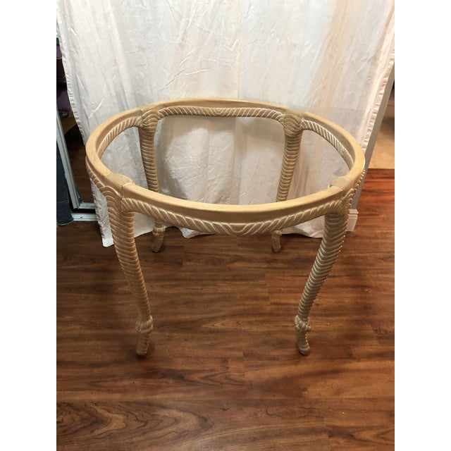 Hollywood Regency Vintage Italian Carved Wood Rope and Knot Round Table With Beveled Glass Top Faux Bois Hollywood Regency Palm Beach For Sale - Image 3 of 4