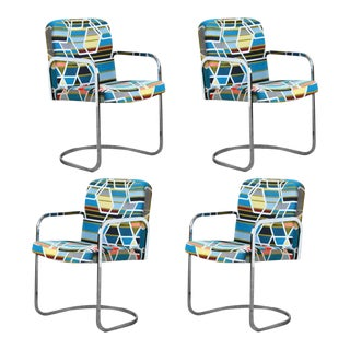 Design Institute of America Set of Four Chairs with Maharam Fabric For Sale
