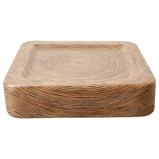 Organic Modern Bamboo Rattan Strip Inlay Cocktail Table For Sale