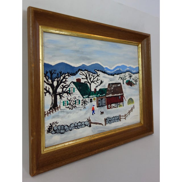 Framed Folk Art Winter Homestead Painting For Sale In Seattle - Image 6 of 9