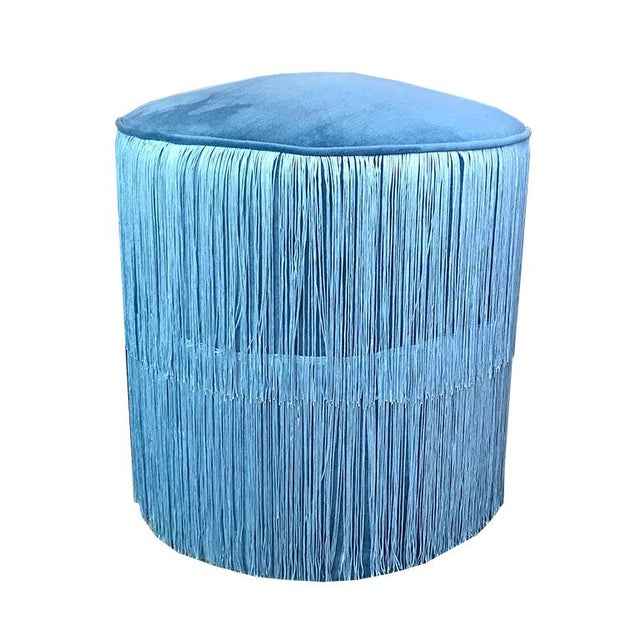 Blue Velvet Round Ottoman Stool Bench Seating With Blue Chainette Fringe Trim Art Deco Hollywood Regency For Sale - Image 4 of 6