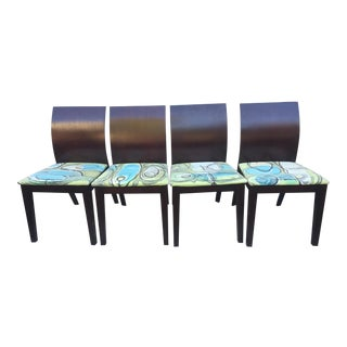 Cherry Wood Dining Chairs Custom Art Fabric Seats - Set of 4 For Sale