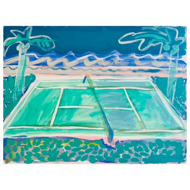 """2020s """"Tennis Court in Waves"""" Contemporary Fauvist Style Sport Painting by Sally King Benedict For Sale - Image 5 of 5"""